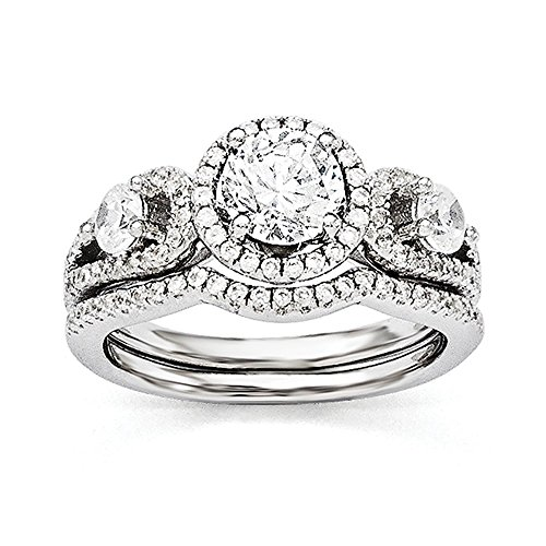 Best Birthday Gift Sterling Silver & CZ Brilliant Embers Rhodium 2-piece Wedding Set by Jewelry Brothers Gifts