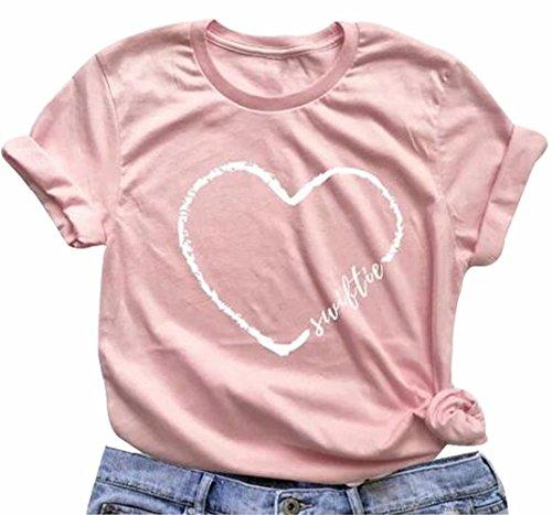 - FAYALEQ Swiftie Shirt Swiftie Fans Heart Print T-Shirt Women Cute Pink Short Sleeve Tee Tops Size XL (Pink)