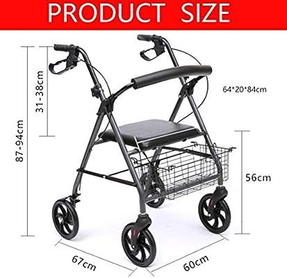 Andador con ruedas plegable con asiento y bolsa, andador con ...