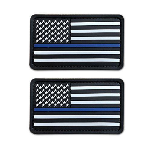 2 Pack 2x3.5 3D PVC Rubber Thin Blue Line US USA American Flag Patch Hook-Fastener Backing (White)
