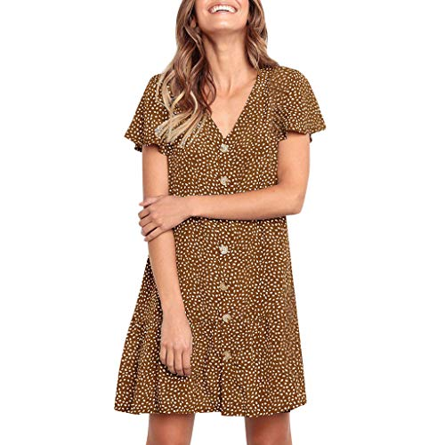 NRUTUP Dresses for Women Casual Summer Button Printing Ruffles V Neck Sleeveless Mini Evening Party Dress Coffee (Seattle's Best Coffee Coupon)