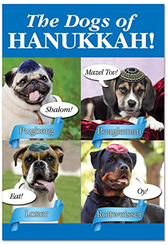 - 12 Boxed 'Dogs of Hanukkah' Happy Hanukkah Cards 4.63 x 6.75 inch w/ Envelopes - Image of A Cute Pet Dog on Every Cover - Humorous Jewish Holiday Greeting Card - w/ Reusable Box B2547HKG
