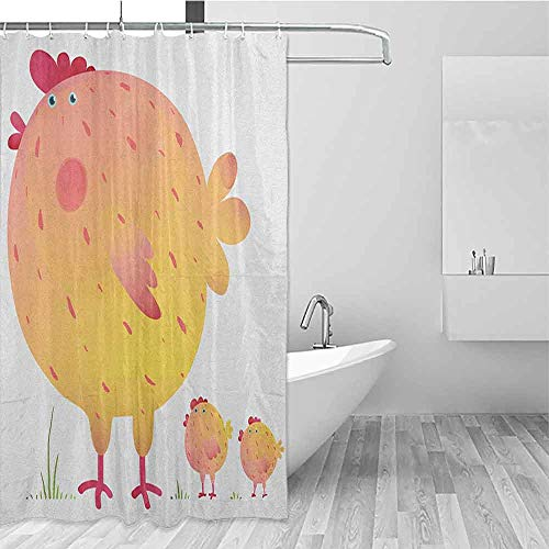 SONGDAYONE Custom Shower Curtain Chicken Mother Hen and Chicks Farm Animals Agriculture Family Theme Daily use Dark Coral Pale Orange Yellow W72 xL72