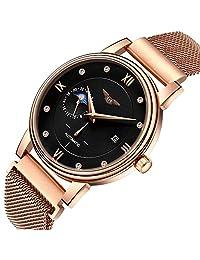 Gosasa Men's Automatic Mechanical Watch Men Moon Phase Stainless Steel Mesh Bracelet Watch (Rose Gold Black)