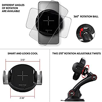 Rideshare Approved Smartphone Charger Mount Air Vent Suction – Obstruction Free – 360 Rotation – Automatic Width Adjustment