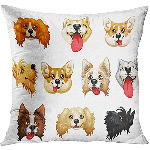 Throw Pillow Cover The Darling Dogs Breed Cocker Spaniel Border Collie Welsh Corgi Scottish Terrier Akita Inu Color Red Decorative Pillow Case Home Decor Square 18x18 Inches Pillowcase