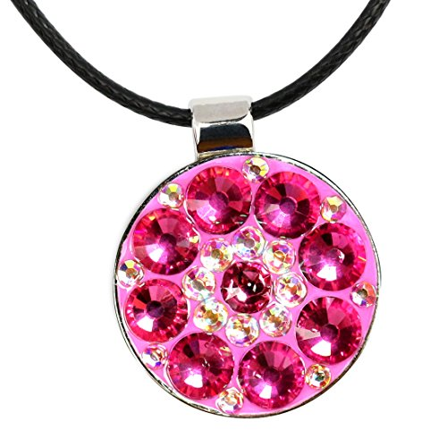 Beautiful Crystal Golf Ball Marker with Magnetic Leather Necklace (Pink)