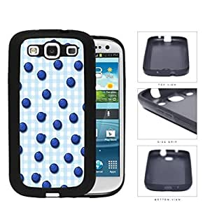 Blueberries On Light Blue Plaid Background Rubber Silicone TPU Cell Phone Case Samsung Galaxy S3 SIII I9300