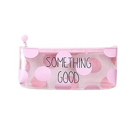 Topdo 1 pcs Estuche de lápices transparente rosa bolsa lápiz caso dibujos animados lapices Estuche,Something Good PVC 22 * 8 * 17cm
