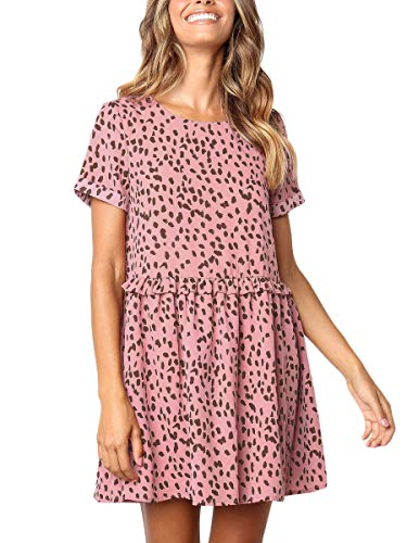 (MOPOOGOSS Dresses for Women Above -The-Knee A-line Casual Dresses Crew Neck Short Sleeve Flounce Midi Dresses Tops Pink)