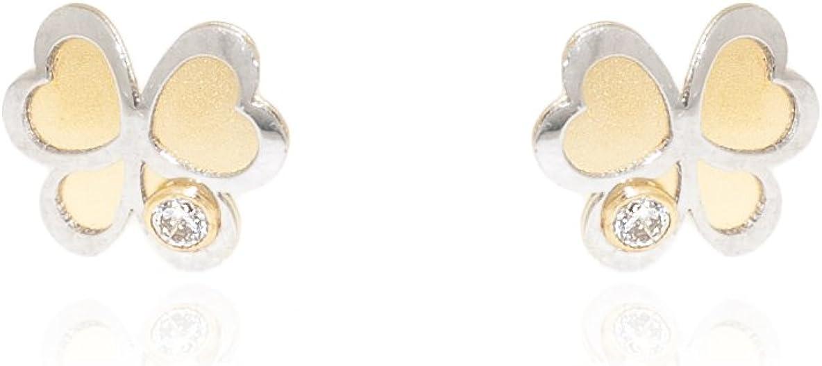 Monde Petit T1859PR - Pendientes de Bebe/Niña oro 18 kts. Flor bicolor Mate/brillo
