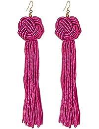 Astrid Knotted Tassel Earrings in Fuchsia – Bohemian Earrings for Women – Handmade in LA