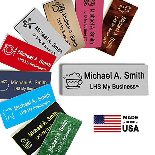 LHS My Business | Name Badges Magnetic Backs - Custom Engraved Brushed Steel Plastic Nametag with Black Lettering Personalized in The USA - M1