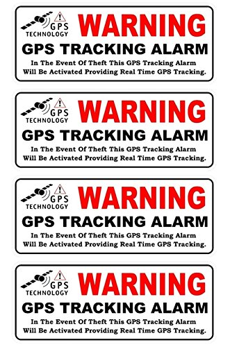 GVGs Shop 4-Pcs Defectless Popular Back Adhesive Warning GPS Tracking Alarm Stickers Sign Motorcycle Surveillance Window Size 4.5
