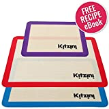 "Silicone Baking Mat Sheet Set (3) 2 Half Sheets 16.5"" x 11 5/8"" + 1 Qtr Sheet 11.5"" x 8.5"". Non Stick Cookie Sheets Professional Grade - Includes Bonus Recipe eBook"
