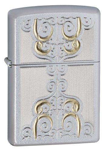 Zippo 205 Gold Scroll Satin Chrome Lighter, Silver, 5 1/2 x 3 1/2cm (Wonderland Scroll)