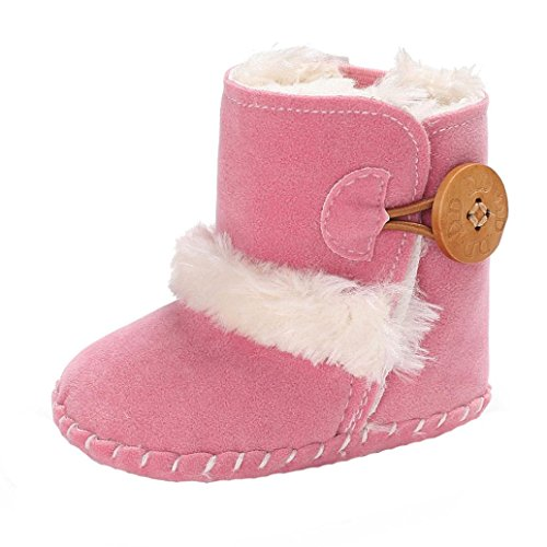 Fabal Cute Boy Girls Baby Soft Sole Snow Boots Soft Crib Shoes Toddler Boots (0~6 Month, Pink)