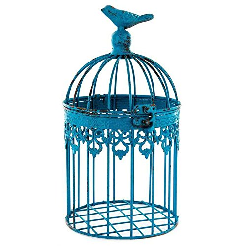 Small Antique Blue Iron Bird (Small Decorative Bird Cages)