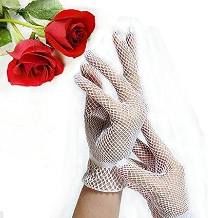 Lumanuby 1X Gants Dentelle Gants R/ésille Femme Gant Mariage Accessoires Gants Court R/ésille Des gants ajour/és pour 16cm Blanc