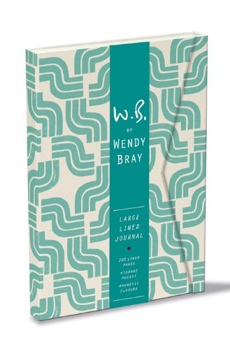 Sea Blue Art Deco Wrap Journal with Magnetic Closure By Wendy Bray