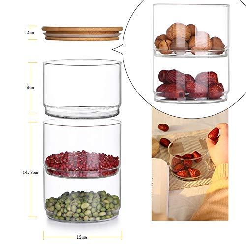 TOOGOO 3-Layer Mason en Verre en Verre Borosilicate Cuisine Cuisine en Vrac Conteneur Ensemble pour Les /épices Fruits Secs Stockage Peut Saladier Bol Bo?Te
