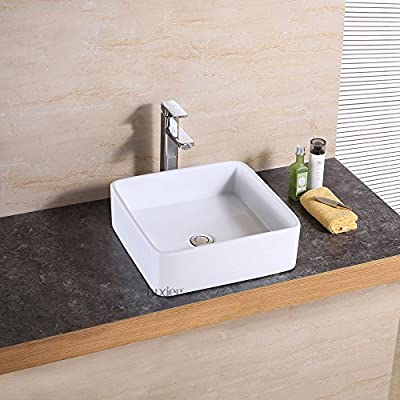 Luxier CS-025 Bathroom Porcelain Ceramic Vessel Vanity Sink Art Basin - Sleek European inspired modern contemporary design Luxury oversized creation Premium quality ceramic construction. Above the counter installation - bathroom-vanities, bathroom-fixtures-hardware, bathroom - 51f90%2BHJfvL. SS400  -