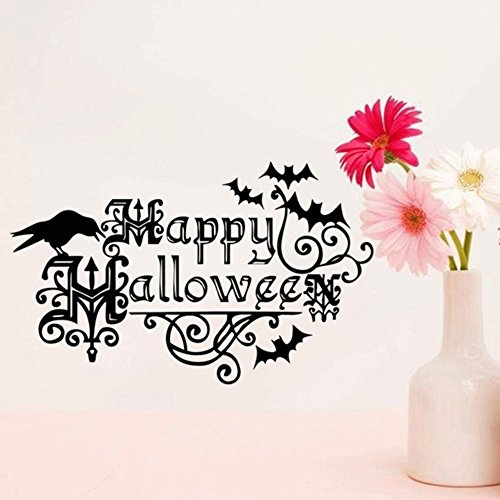 Accent Wall Decor Sticker Bats Nursery Party Halloween Accessory Window for Kids Crow Halloween and Happy Halloween 22.213.7inch -