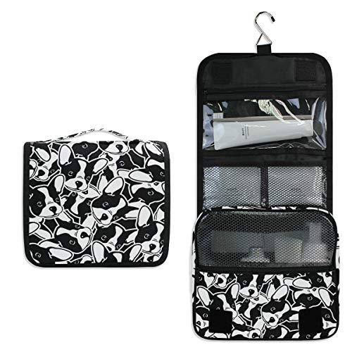 JOYPRINT Hanging Toiletry Bag French Bulldog Animal Pattern, Makeup Bag Cosmetic Bag Bathroom Travel Organizer Large for Women Girls