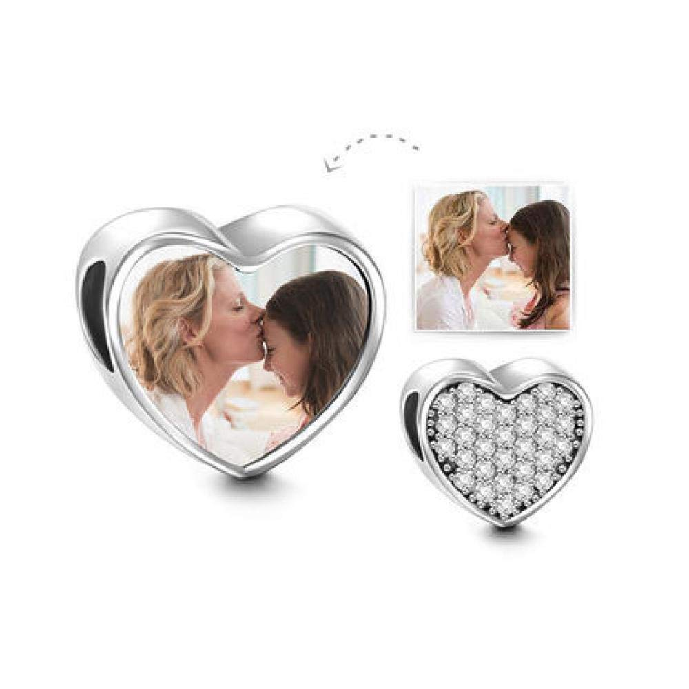 Bracelet Heart Charm 925 Sterling Silver Personalized Picture Bead DIY Photo Pendant for Bracelet Necklace Anniversary