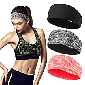 Workout Headbands for Women (3 Pack) – Absorbing Sweat Hair Bands for Yoga Fitness Sports Running, Elastic, Fits All…
