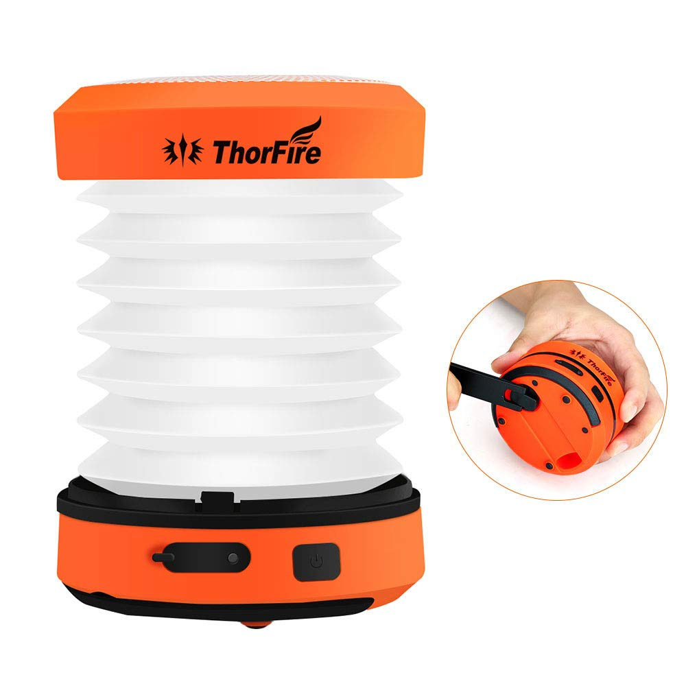 Thorfire LED Camping Lantern Lights Hand Crank USB Rechargeable Lanterns Collapsible Mini Flashlight Emergency Torch Night Light Tent Lamp for Camping Hiking Tent Garden Patio - CL01 by Thorfire