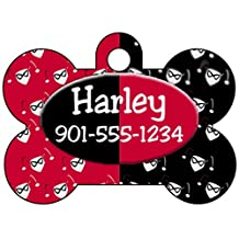 Harley Quinn Personalized Pet Id Tag for Dogs and Cats w/ Your Pet's Name & Number