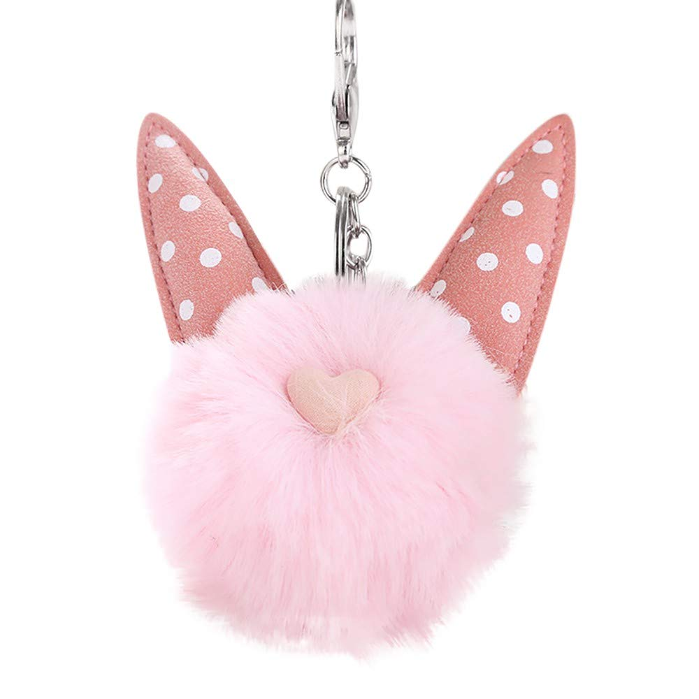 Clearance!Cute Genuine Cat Fur Ball Pom Pom Keychain for Car Key Ring Handbag Tote Bag Pendant
