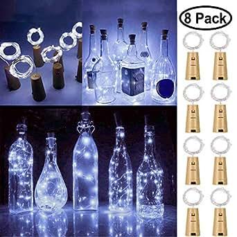 20 luces LED de corcho para botella de vino, alambre de ...