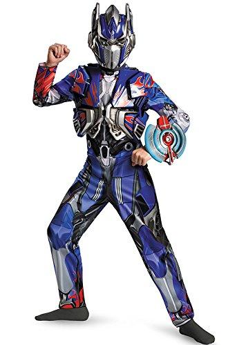 [Disguise Hasbro Transformers Age of Extinction Movie Optimus Prime Deluxe Boys Costume, Medium/7-8] (Transformers Optimus Prime Deluxe Child Costume)