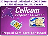 Israel Prepaid SIM Card From Cellcom, Including 30 Days Unlimited Israel, USA, Canada + 100GB Data + 1500 Minutes to USA, Canada, Fits Any Size SIM CARD Micro Nano + Case Iphone Pin & User Guide
