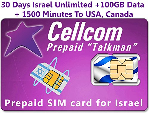 Israel Prepaid SIM Card From Cellcom, Including 30 Days Unlimited Israel, USA, Canada + 100GB Data + 1500 Minutes to USA, Canada, Fits Any Size SIM CARD Micro Nano + Case Iphone Pin & User Guide by SIMCases