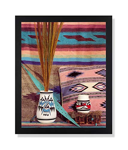 Southwestern Native American Indian Pottery Picture Black Framed Art Print - American Native Pottery Indian
