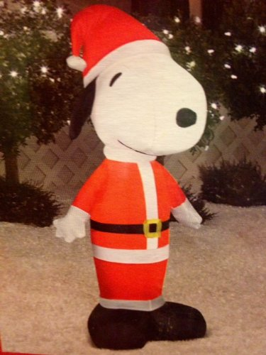 Gemmy Airblown Inflatable Snoopy Standing Dressed as Santa Claus - Indoor Outdoor Holiday Decoration, 3.5-foot Tall ()