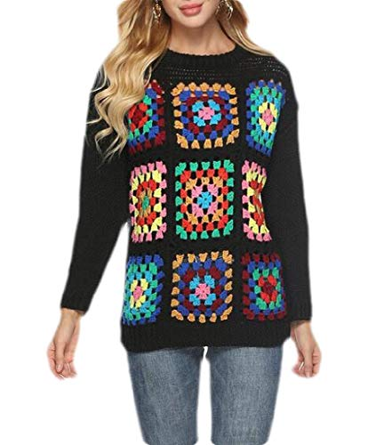 CBTLVSN Women's O Neck Crochet Knit Granny Square Sweater Long Sleeve Patchwork Knitwear Black XL