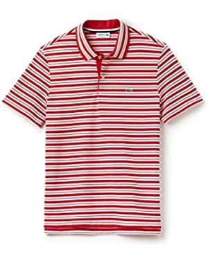Men's Men's Red Striped Cotton Polo in Size 5-L Red
