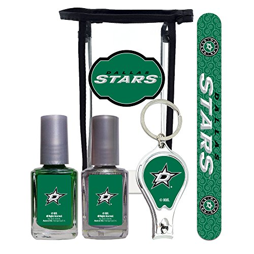 NHL Dallas Stars Manicure Pedicure Set with 7-Inch Nail File, Nail Clippers, 2 Nail Polishes in Team Colors, and Toiletry Bag for the Whole Kit. NHL Gifts for Women.