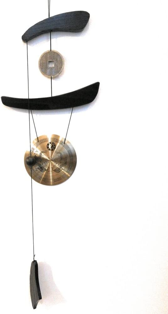 THY COLLECTIBLES Feng Shui Brass Gong Wind Chime for Patio, Garden, Terrace, Balcony Or Any Room - Beautiful Dragon Design Piece