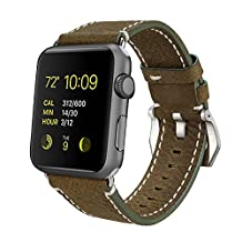 SSBRIGHT Genuine Leather Strap, 42mm Apple Watch Replacement Band With Stainless Steel Buckle for Apple Watch / iWatch 42mm Series 1 & Series 2 All Versions (Dark Khaki)