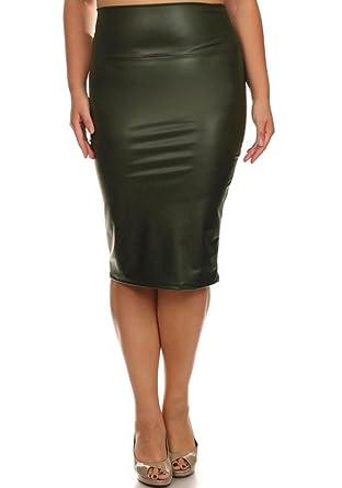 2f9d1415467c9 curvyluv.com Women s Plus Size Faux Leather Slim Skirt Pleather Pencil  Bottom Casual (Olive