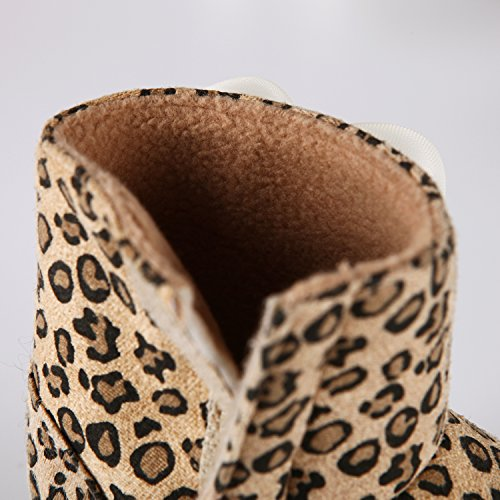 CHIC-CHIC- Enfant Bébé Crochet Tricot Bottines en Bas Age Petits Filles Chaussures Bottines de Premier Pas Chaud Hiver Chaussons avec Fleur Pour 3-12 Mois (3-5 mois 11cm)