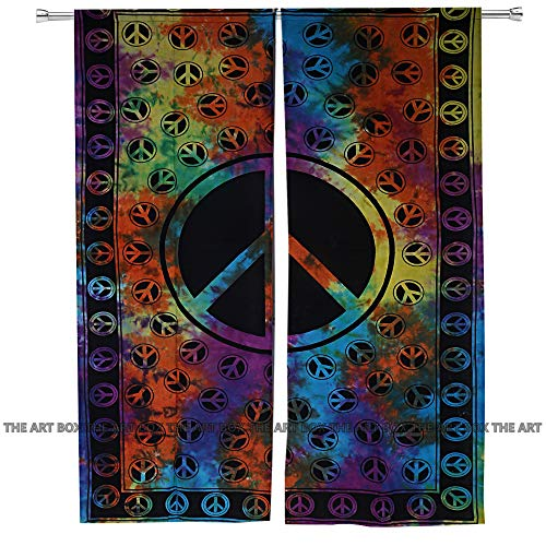 The Art Box Indian Tie Dye Peace Tapestry Mandala Window Curtains, Blinds Curtains, Tab Top Curtain, Living Room Drapes, Decorative Curtains, Curtain for Panel Set 52 x 80 Inch Approx.