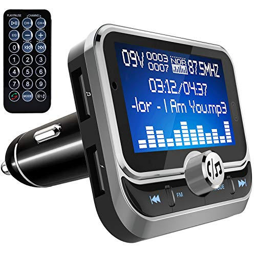 - TINMIU Bluetooth FM Transmitter, 1.8 inch Wireless Radio Adapter Car Kit with Remote Control, Hands Free Calling, Dual USB Ports, AUX Input, Support Siri Assistant, TF Card & USB Flash Drive