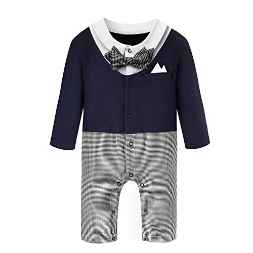 Baby Boy Romper 1-Piece Gentleman Tuxedo Jumpsuit & Bowtie for 0-24 Months Boy (70(0-6 Month)) (Santa Outfit For Baby Boy)