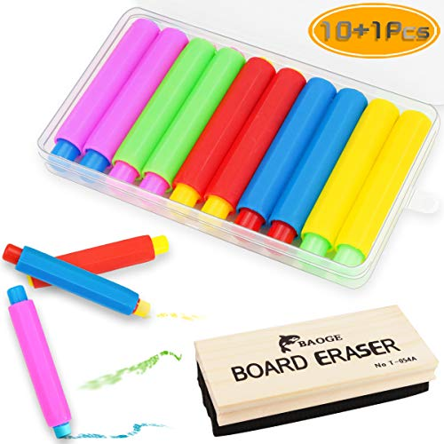 Nexxxi 10 Pcs Colorful Plastic Chalk Holder, Adjustable Chalk Clip with a Wood Chalkboard Eraser and Storage Case for School Supplies ()